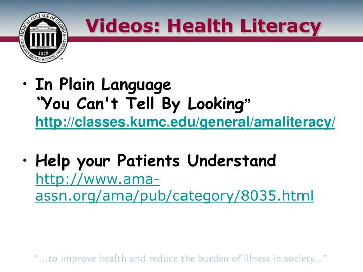 Videos: Health Literacy