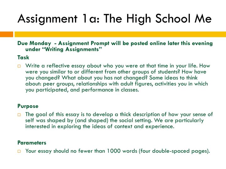 Assignment 1a: The High School Me