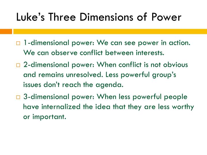 Luke's Three Dimensions of Power