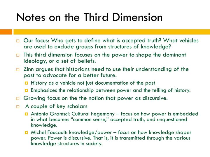 Notes on the Third Dimension