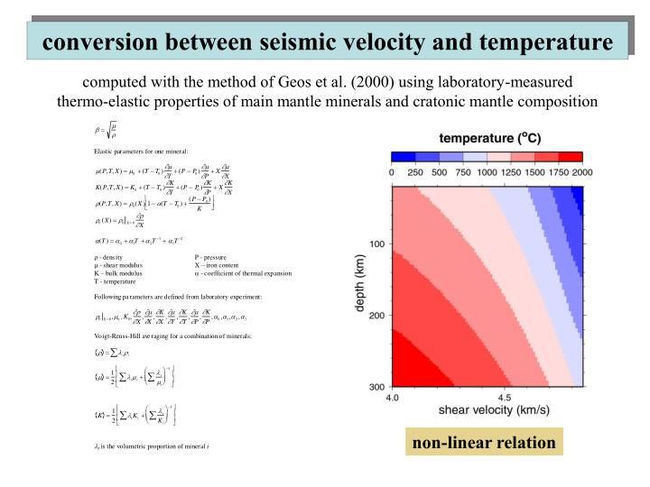 conversion between seismic velocity and temperature