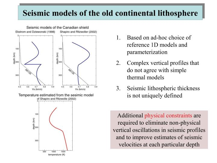 Seismic models of the old continental lithosphere
