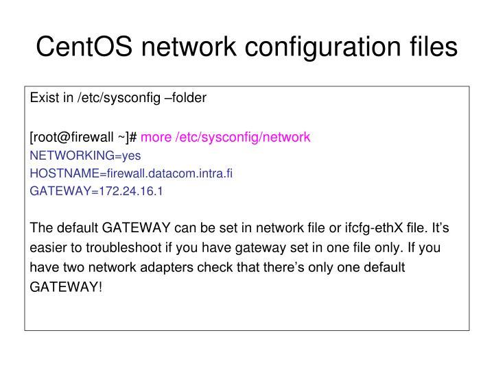 CentOS network configuration files