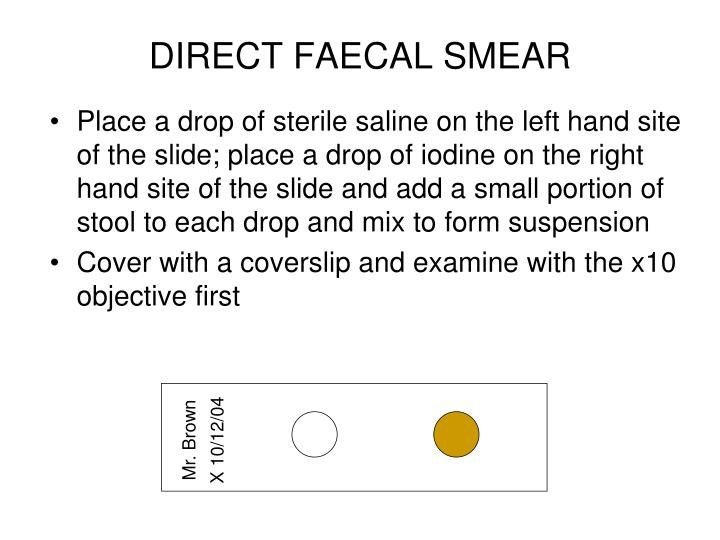 DIRECT FAECAL SMEAR