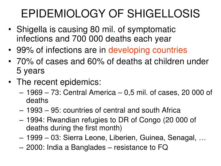 EPIDEMIOLOGY OF SHIGELLOSIS