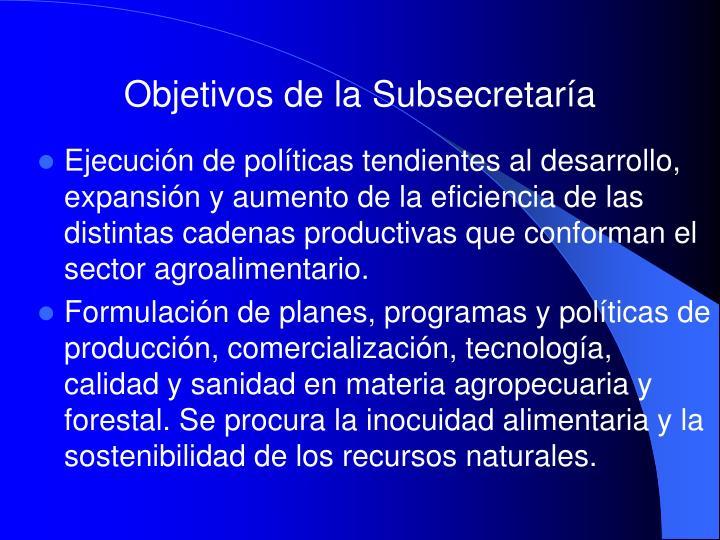 Objetivos de la Subsecretaría