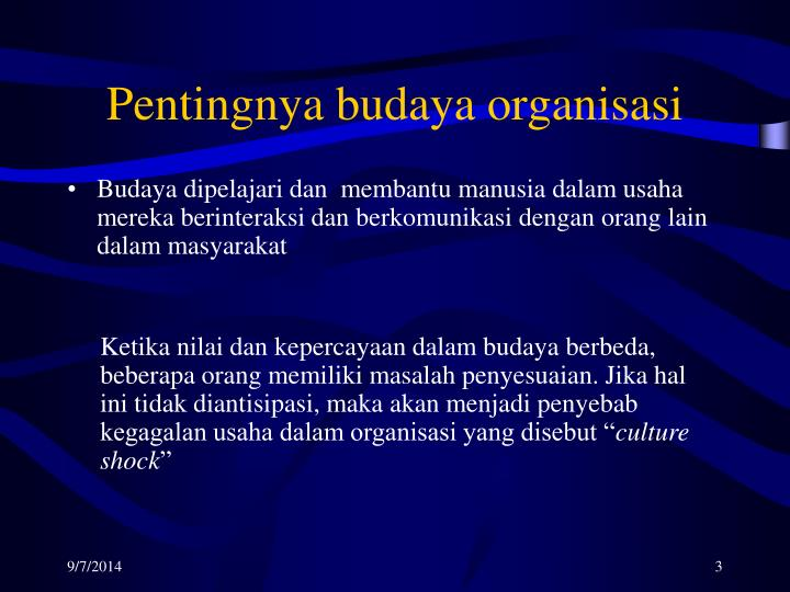 Pentingnya budaya organisasi