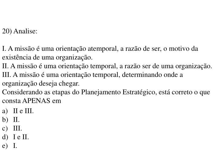 20) Analise: