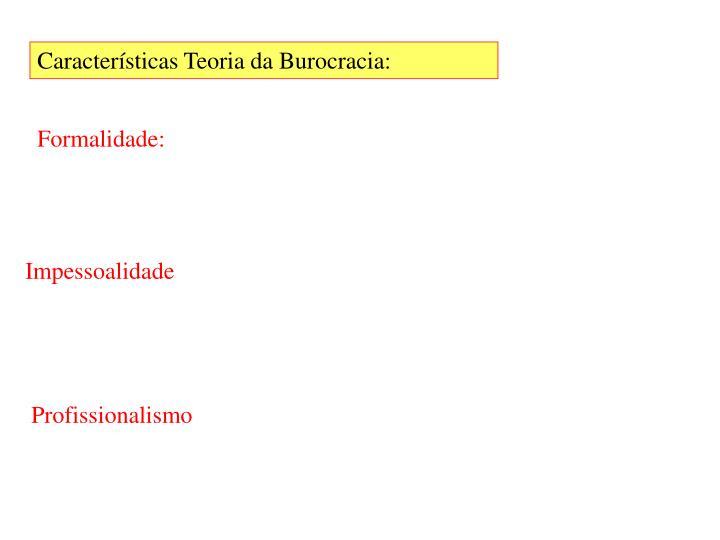 Características Teoria da Burocracia: