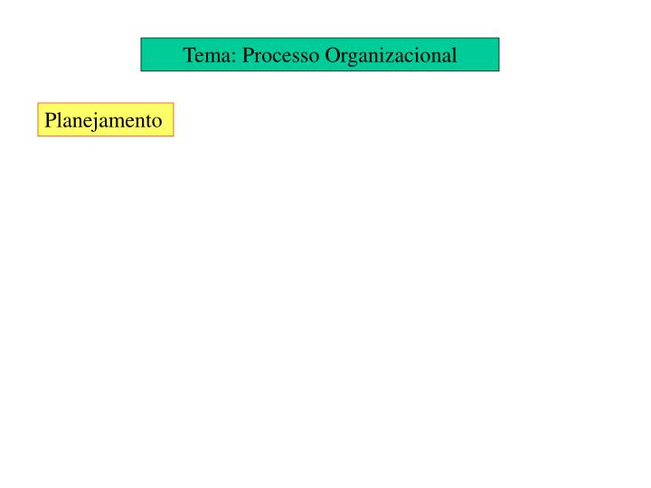 Tema: Processo Organizacional