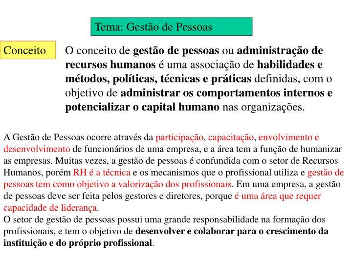 Tema: Gestão de Pessoas