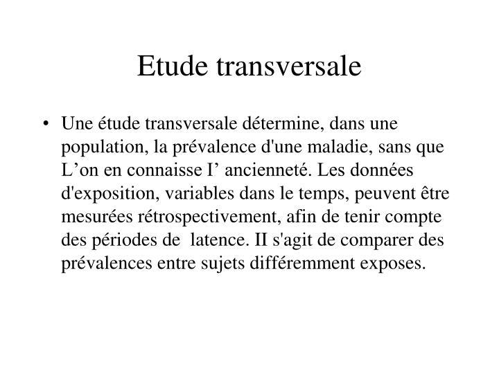Etude transversale