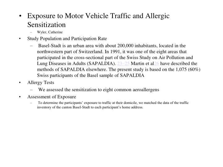 Exposure to Motor Vehicle Traffic and Allergic Sensitization