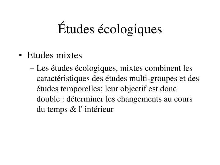 Études écologiques
