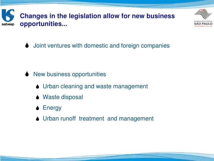 Changes in the legislation allow for new business opportunities...