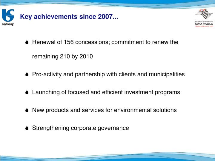 Key achievements since 2007...