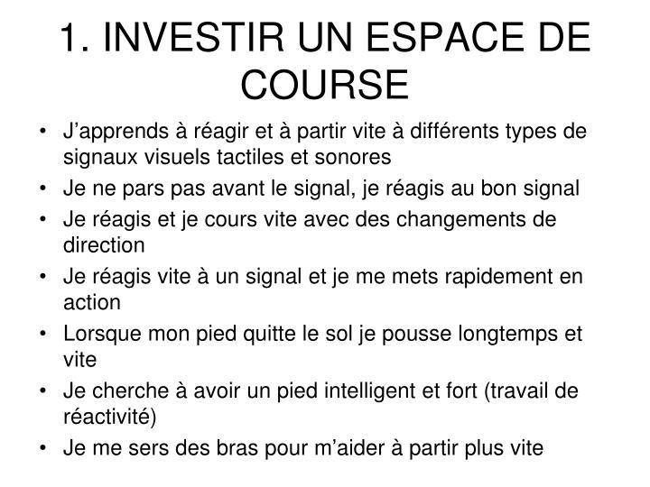 1. INVESTIR UN ESPACE DE COURSE