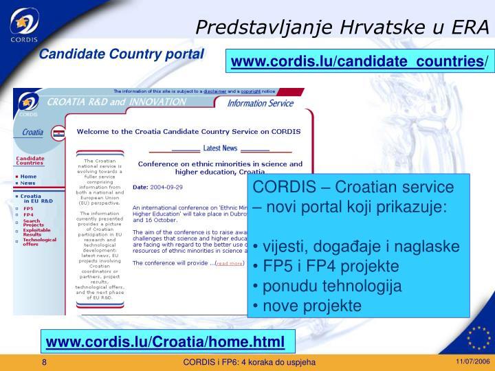 Predstavljanje Hrvatske u ERA