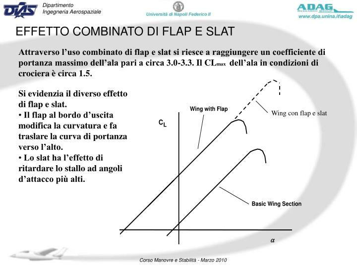 Attraverso l'uso combinato di flap e slat si riesce a raggiungere un coefficiente di portanza massimo dell'ala pari a circa 3.0-3.3. Il CL