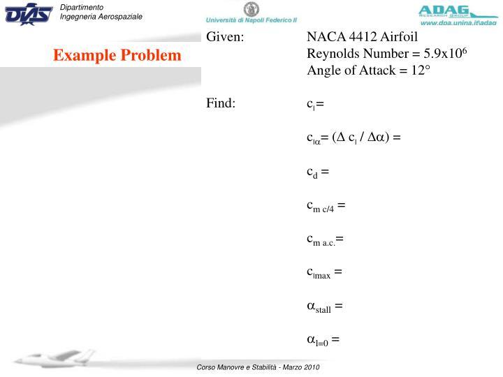 Given:NACA 4412 Airfoil