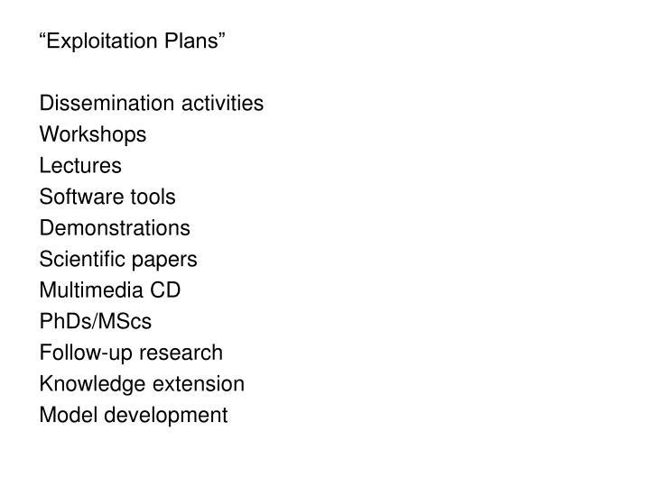 """Exploitation Plans"""