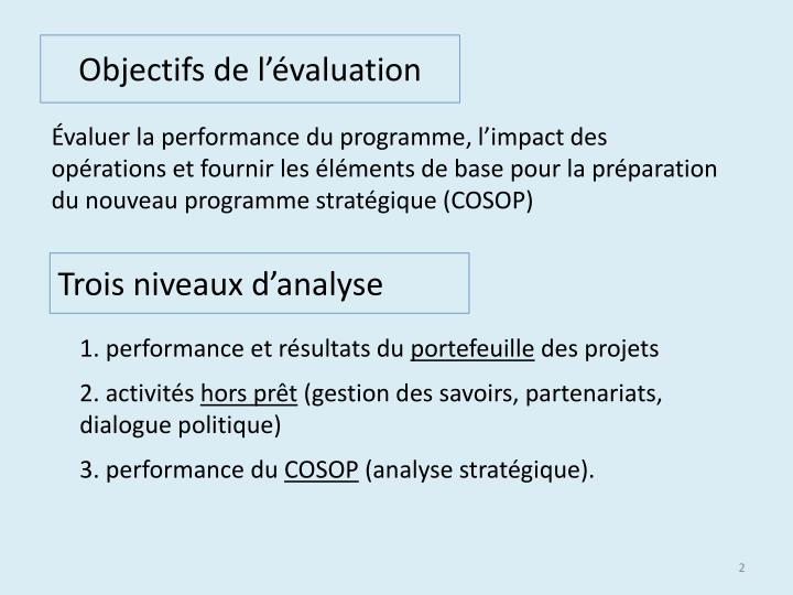 Objectifs de l valuation