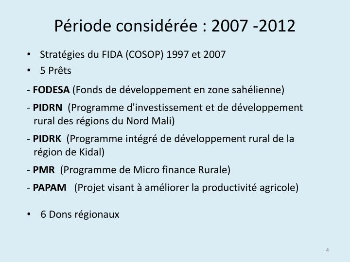 Période considérée : 2007 -2012