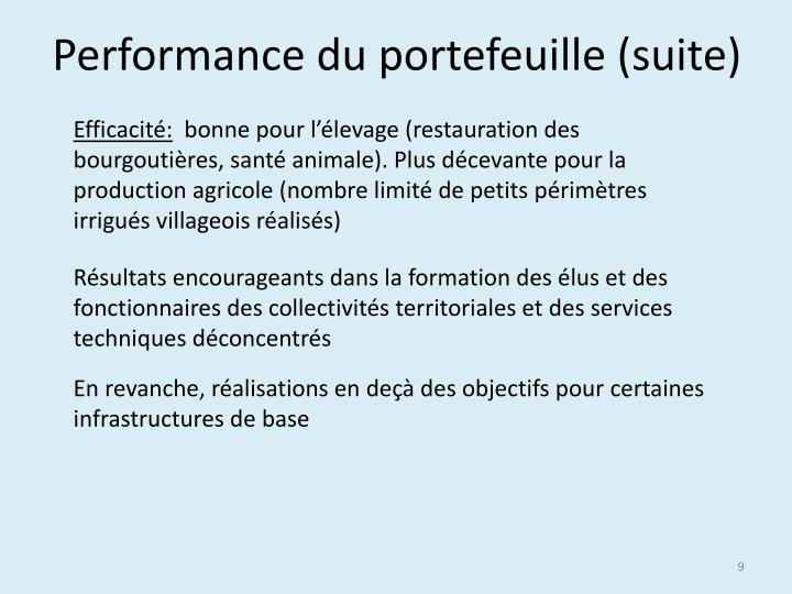 Performance du portefeuille (suite)