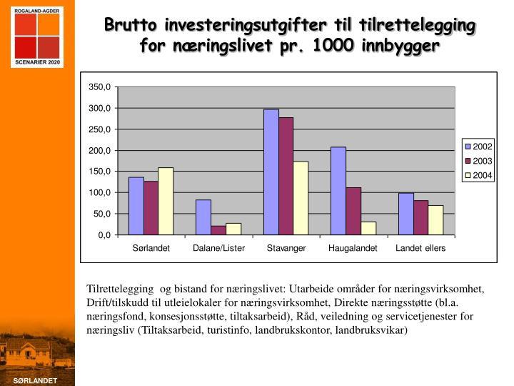 Brutto investeringsutgifter til tilrettelegging for næringslivet pr. 1000 innbygger