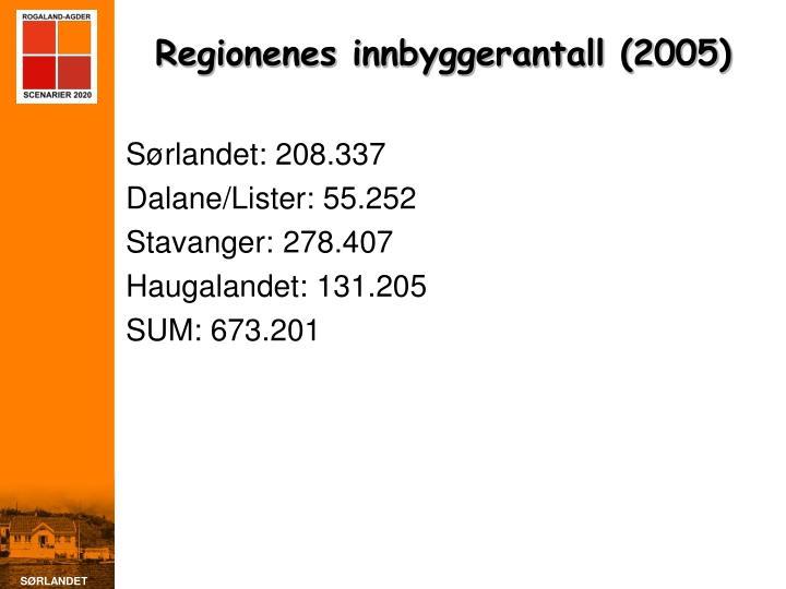 Regionenes innbyggerantall (2005)