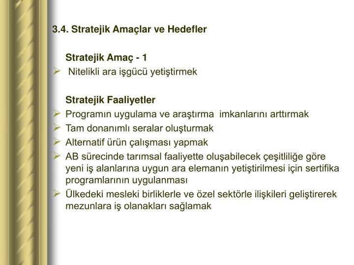 3.4. Stratejik Amaçlar ve Hedefler