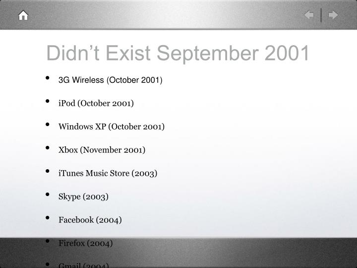 Didn't Exist September 2001