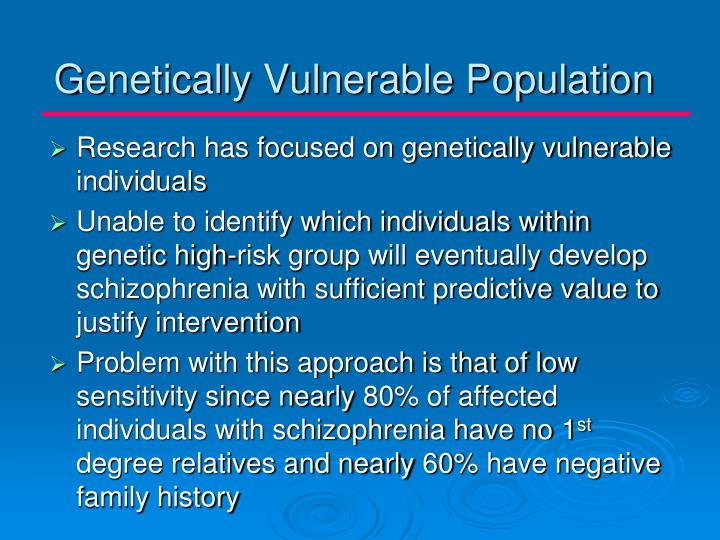 Genetically Vulnerable Population