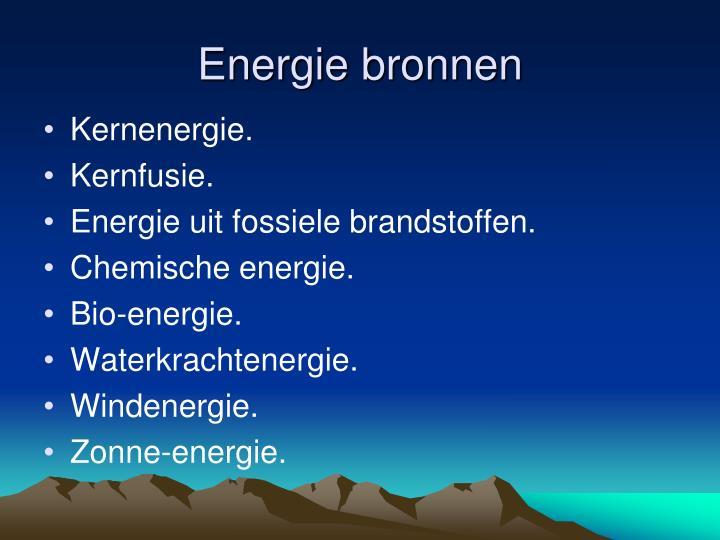 Energie bronnen