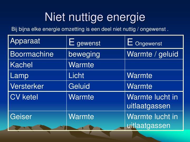 Niet nuttige energie