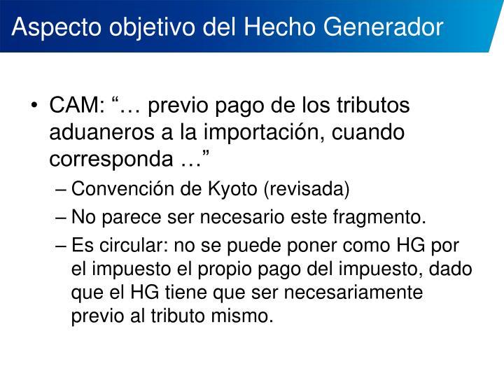 Aspecto objetivo del Hecho Generador