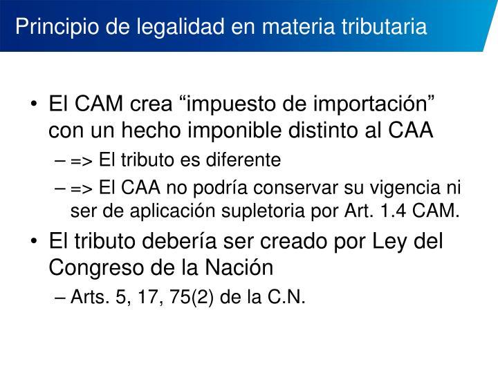 Principio de legalidad en materia tributaria