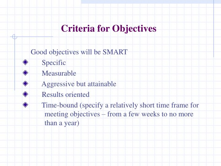 Criteria for Objectives