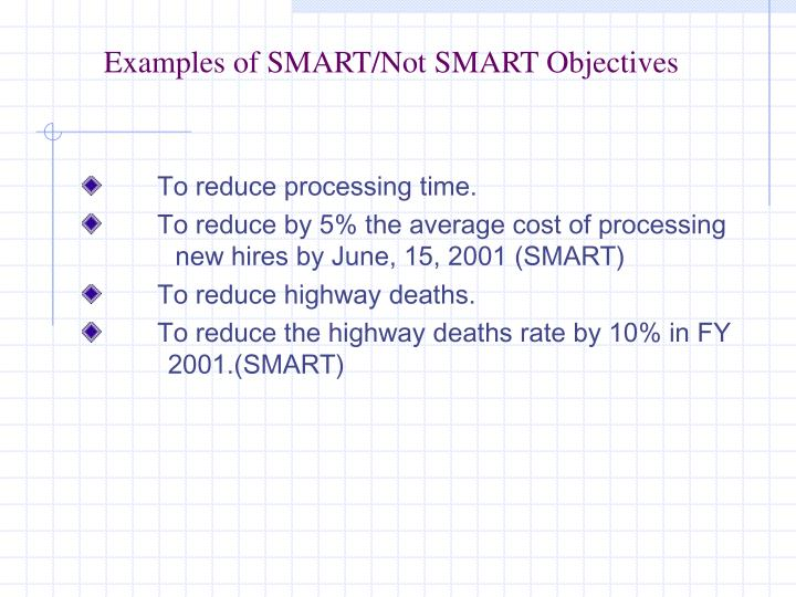 Examples of SMART/Not SMART Objectives