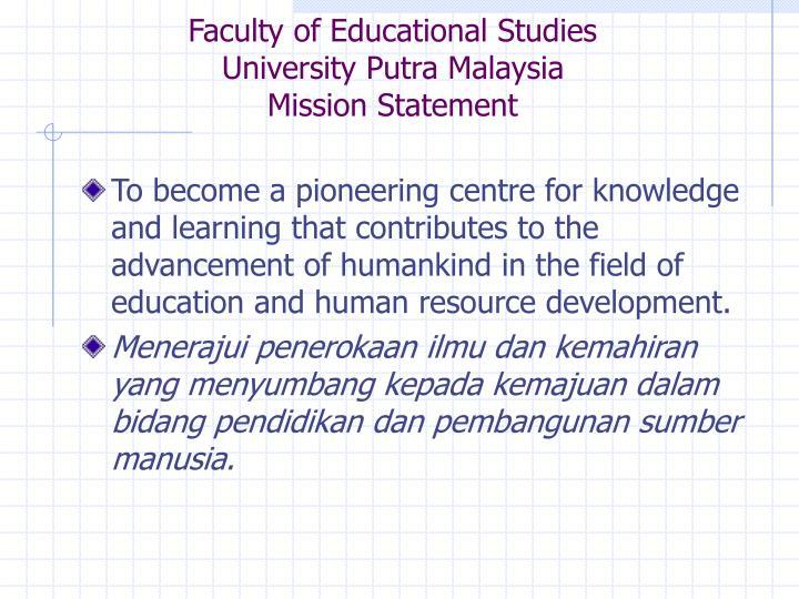 Faculty of Educational Studies