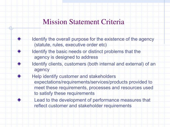 Mission Statement Criteria