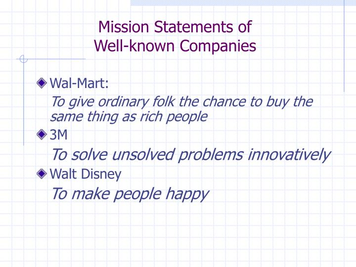 Mission Statements of