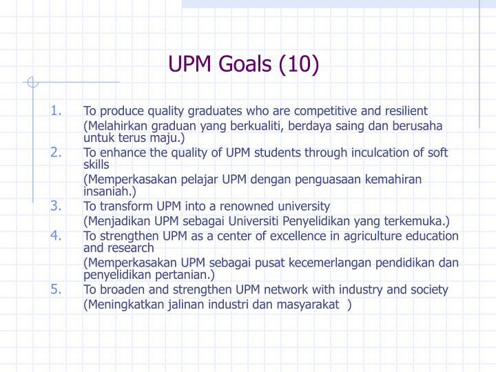 UPM Goals (10)