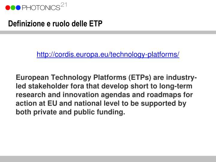 Definizione e ruolo delle ETP