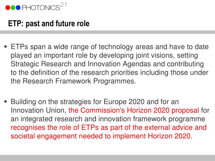 ETP: past and future role