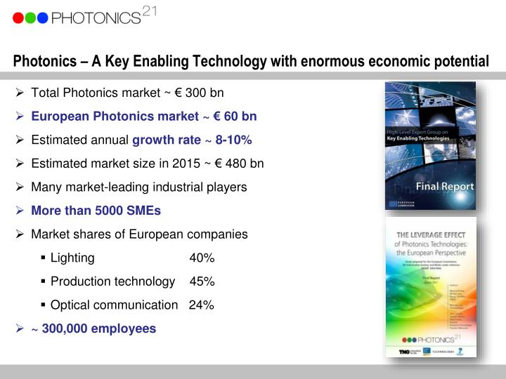 Photonics – A Key Enabling Technology with enormous economic potential
