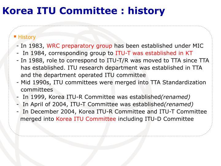 Korea ITU Committee : history