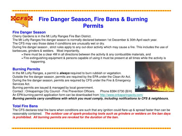 Fire Danger Season, Fire Bans & Burning Permits