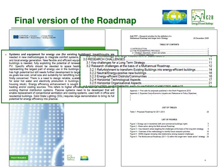 Final version of the Roadmap