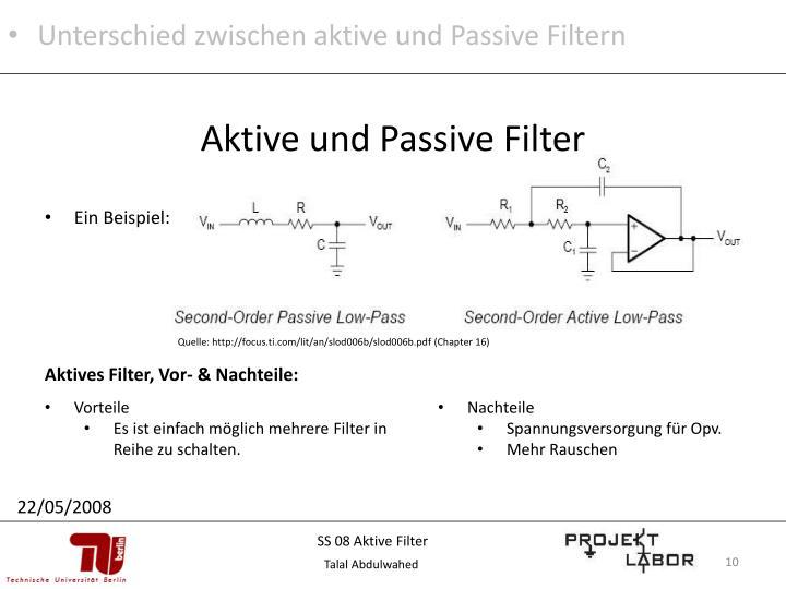 Unterschied zwischen aktive und Passive Filtern
